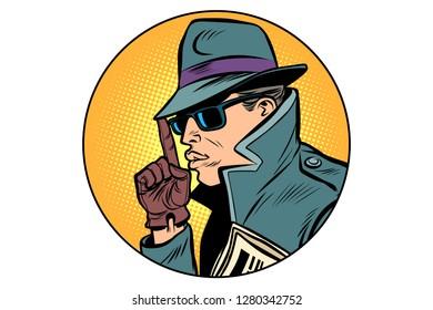 spy secret agent finger gun gesture. Comic cartoon pop art retro vector illustration drawing