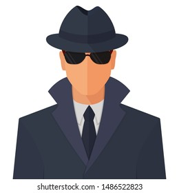 Spy secret agent man character in sunny glasses, hat and raincoat flat style cartoon vector colorful illustration icon isolated on white background.