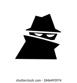Spy silhouette icon. Clipart image isolated on white background.