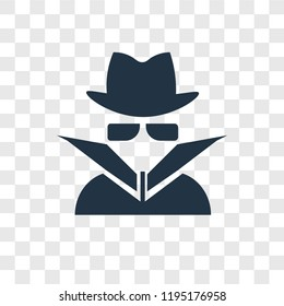 Spy vector icon isolated on transparent background, Spy transparency logo concept