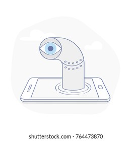 Spying data from smartphone, tracking mobile users, mobile marketing analytics tool. Periscope climbs from the phone screen. Flat outline vector illustration in modern design style.
