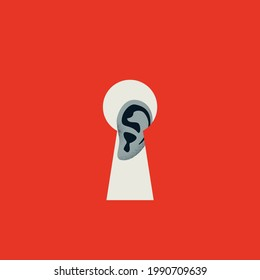 Spying and eavesdropping vector concept. Symbol of stealing secrets, listening to secrets, data breach. Minimal eps10 illustration.