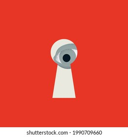 Spying and watching vector concept. Symbol of stealing secrets, looking at secrets, data breach. Minimal eps10 illustration.