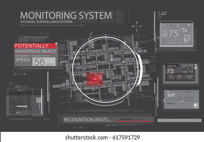 Spyware app for tracking. Navigation application for mobile gadgets. Map in HUD style. CIA surveillance
