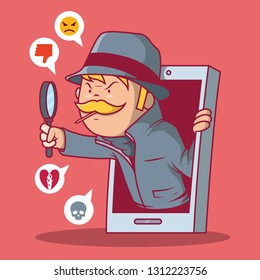 Spyware spying vector illustration. Technology, communication, crime, security, spyware design concept