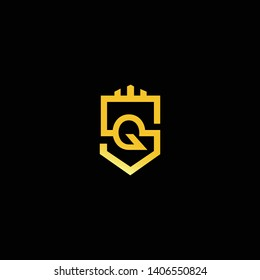 SQ QS Home Logo design. Real estate business logo in black background