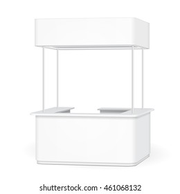 Sqaure POS POI Blank Empty Advertising Retail Stand Stall Bar Display With Roof, Canopy, Banner. On White Background Isolated. Mock Up Template Ready For Your Design. Product Advertising Vector