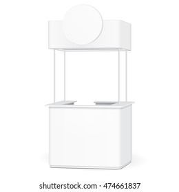 Sqaure POS POI Blank Empty Advertising Retail Stand Stall Bar Display With Roof, Canopy, Banner. On White Background Isolated. Mock Up Template Ready For Your Design. Product Advertising. Vector