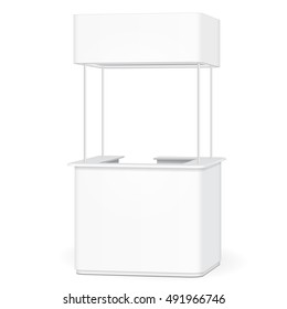 Sqaure POS POI Blank Empty Retail Stand Stall Bar Display With Roof, Canopy, Banner. On White Background Isolated. Mock Up Template Ready For Your Design. Product Advertising. Vector