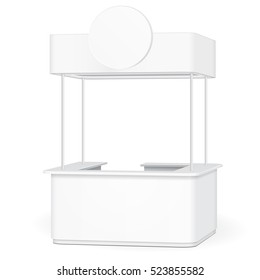 Sqaure POS POI Blank Empty Retail Stand Stall Bar Display With Roof, Canopy, Banner.  Illustration Isolated On White Background. Mock Up Template Ready For Your Design. Product Advertising. Vector