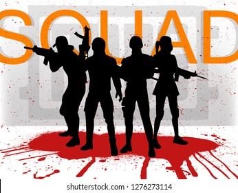 A squad of 4 PUBG players. Silhouettes of 4 people in uniform, PlayerUnknown's Battlegrounds team. Vector illustration Squad pubg