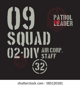 Squad air force  military typography, tee shirt graphics, vectors