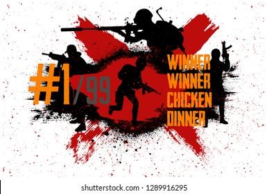Squad militarys.  Slogan - Winner winner chicken dinner. Vector illustration grunge style