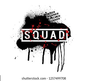 SQUAD - vector abstract illustration in grunge style.  Vector illustration, Concept team players, squad gamers