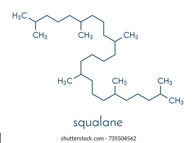 Squalane molecule. Saturated compound, derived from squalene. Used in cosmetics as emollient and moisturizer. Skeletal formula.