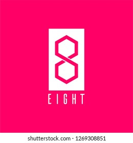 square and 8 for eight logo letter in hexagon shape design concept