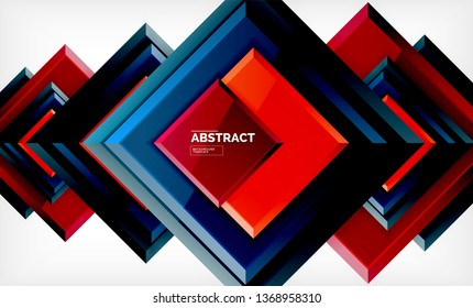 Square abstract background, glossy geometric design. Vector poster design