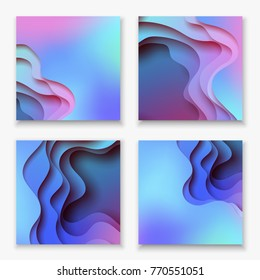 Square abstract color 3d paper art illustration set. Contrast colors. Vector design layout for banners presentations, flyers, posters and invitations. Eps10.