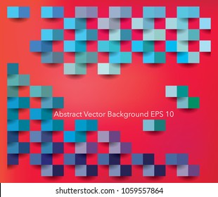 square abstract  colorfull texture, blue, purple and green colors on red background, 3d vector template