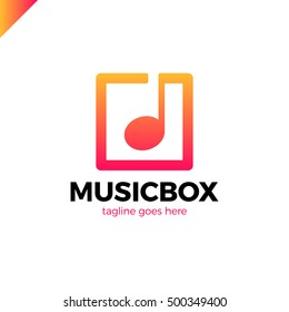 square abstract music note vector logo icon. This logotype for music industry, digital music, musical app button
