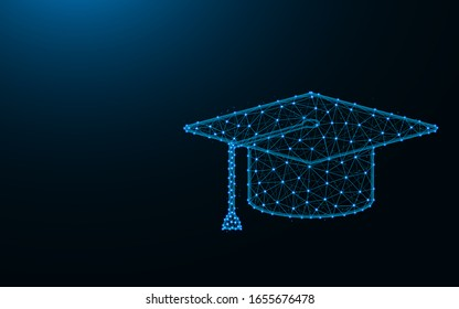 Square Academic Cap made from points and lines on dark blue background, education wireframe mesh polygonal vector illustration