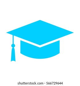 Square academic cap vector icon illustration isolated on white background. Graduate cap web icon. Mortarboard vector eps logo.