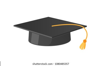 Square academic hat with tassel vector illustration icon isolated on white. Mortarboard cup symbol of wisdom and magisters graduation from university