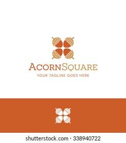 square acorn logo for creative business, shop or website