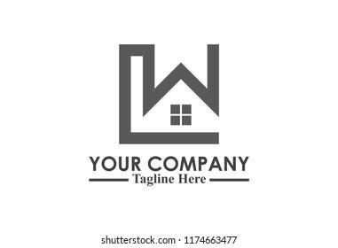 square architecture logo letter w