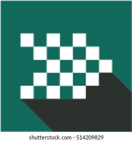 Square arrow. White arrow made of small squares with shadows on green background. Arrow icon. arrows in trendy flat style isolated on green background. Arrow symbol for your web site design.