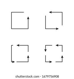 Square arrows. Vector graphic illustration. Corporate identity design element.
