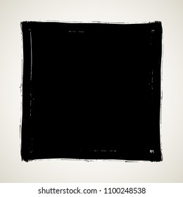 Square artistic grunge brush paint stroke in black isolated over white background. Design element vector illustration.