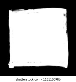 Square artistic grunge brush paint stroke in white isolated over black background. Design element vector illustration.