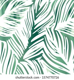 Square Backgrorund of Tropical Leaves with Dominant White and Green Color Line and Transparent.