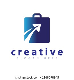 Square bag with plane travel logo icon vector template
