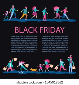 Square Banner for Black Friday sale. People running after shopping, tearing off discount coupons from a Xmas tree. Flat Art Vector illustration