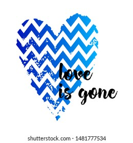 Square banner with a blue heart and the inscription love is gone. Template greeting card, brochure or wallpaper