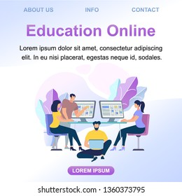 Square Banner with Copy Space. Young Men and Women Getting Information from Internet. Online Education, Digital Technology. Girls and Guys Watching Lesson at Gadgets. Cartoon Flat Vector Illustration