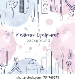Square banner with different manicure tools drawn with contour lines and pastel colored watercolor paint blots. Background with equipment for nail art at top and bottom edges. Vector illustration.