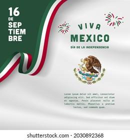 Square Banner illustration of Mexico independence day celebration. Translation: September 16, Long live Mexico, Independence Day! Waving flag and hands clenched. Vector illustration.