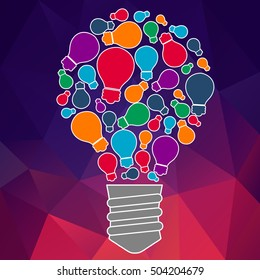 Square banner with light bulb of idea. Vector abstract background for banner. Tip and hint of ideas of brain. UX designer and developer Hackathon