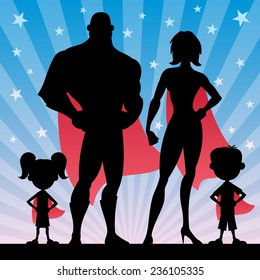 Square banner of superhero family. No transparency used. Basic (linear) gradients.