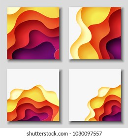Square banners with 3D abstract background with red, purple, violet, yellow paper cut waves. Contrast colors. Vector design layout for presentations, flyers, posters