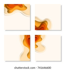 Square banners with 3D abstract background with orange paper cut waves. Vector design layout for business presentations, flyers, posters and invitations.