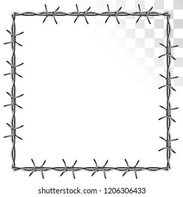 square barbed wire frame. isolated on transparent background