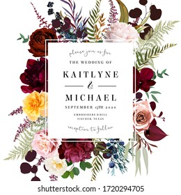 Square baroque floral label frame arranged from leaves and flowers. Pale, yellow and orange rose, burgundy dark red peony, fern, orchid, greenery vector design. Summer moody card.Isolated and editable