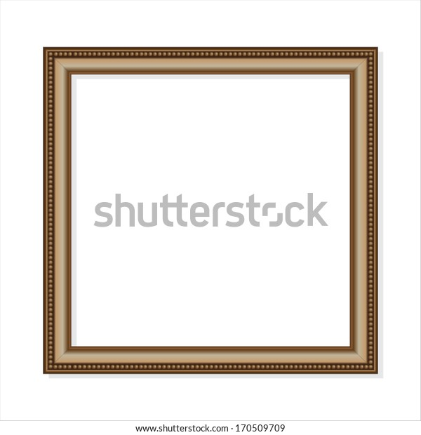 A square beaded gold frame on a white background
