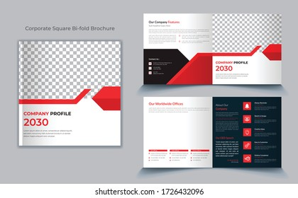 Square Bi fold brochure template