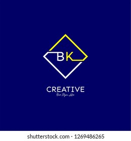 square bk logo letter design concept in yellow and white color