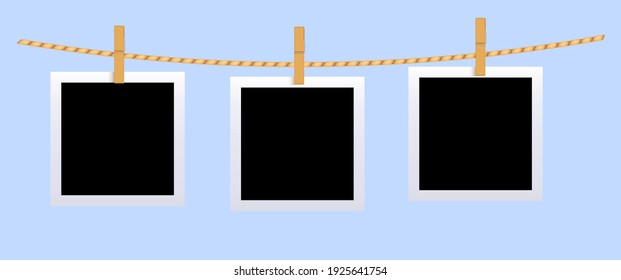 Square black blank photo set mockup hungled on string. Realistic empty template for collage with clothespin on white frame.